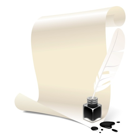 Vector banner in the form of white paper with an inkwell and feather Stock Vector - 16415398