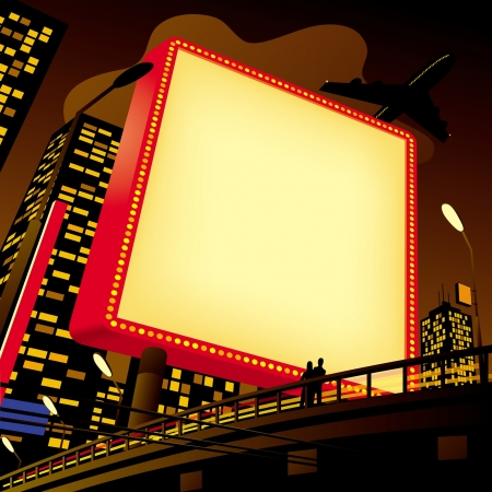 Vector image of an advertising billboard by the road in the city