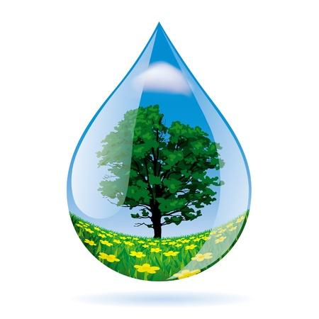 風景と水滴のベクトル画像  イラスト・ベクター素材