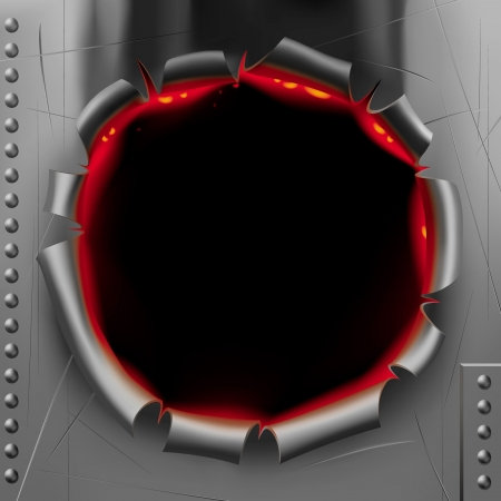 puncture: Vector image in form of a black shot hole