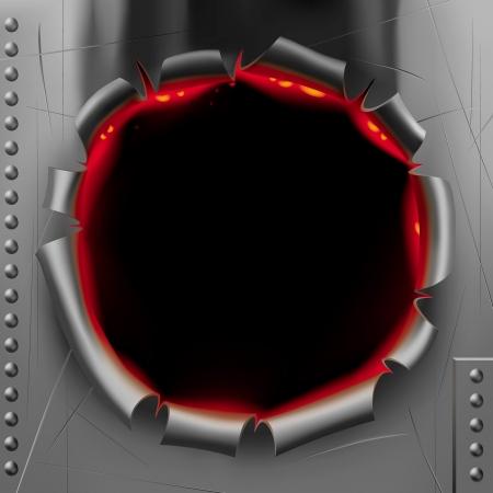 gunshot: Vector image in form of a black shot hole
