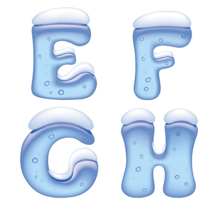 Vector image of ice alphabet capital letters under snow