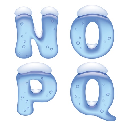 ice font: Vector image of ice alphabet capital letters under snow