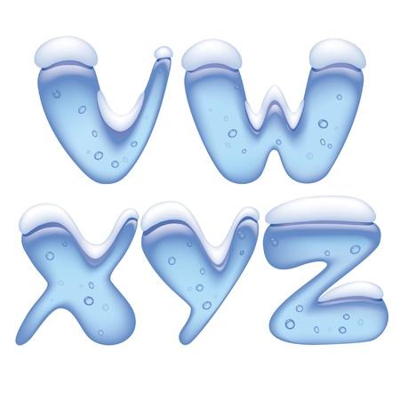 雪の下氷のアルファベット大文字のベクトル画像