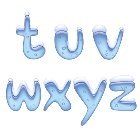 ice: Vector image of ice alphabet small letter under snow