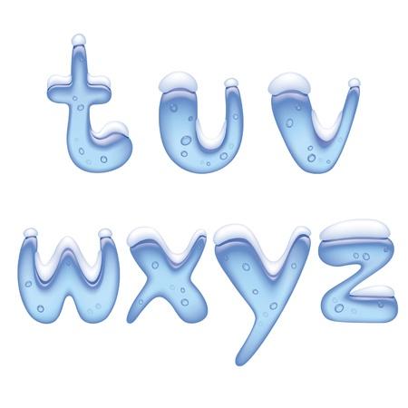 ice alphabet: Vector image of ice alphabet small letter under snow