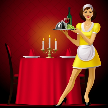 party tray: Vector image of a young waitress in red restaurant interior with a light Illustration