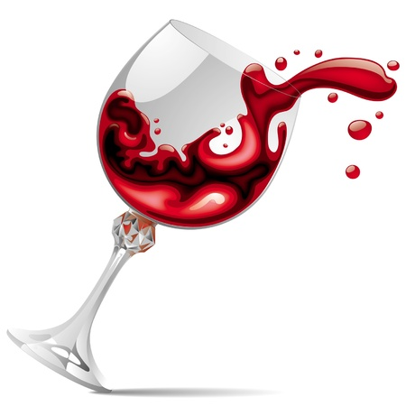 Vector image of falling glass with red wine