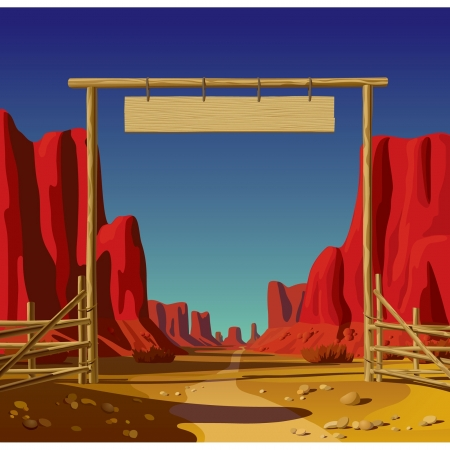 Vector illustration of a farm gate in the Wild West Çizim