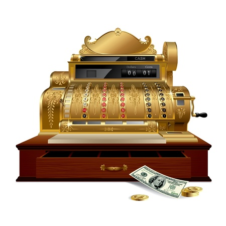 receipts: Vector image of gold vintage cash register with a dollar
