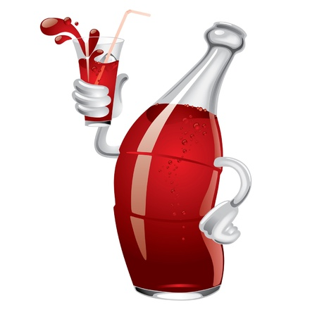 Vector image of cartoon soda bottle with a glass in a hand Illustration