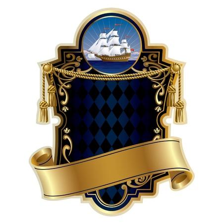 shield emblem: Vector oro incorniciato con una nave a vela in mare