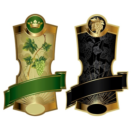 Vector beeld van twee gouden lijst wijnetiketten Vector Illustratie