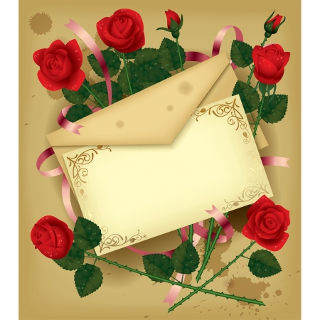 love letters: Vector image of a vintage letter with red roses