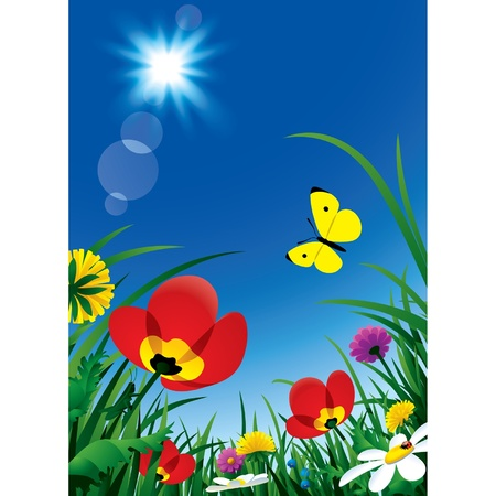 Vertical vector background with wild flowers and sun in the blue sky Vector
