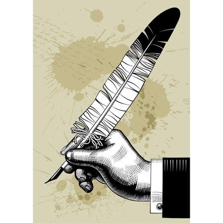 obsolete: Vector vintage image of hand with a feather