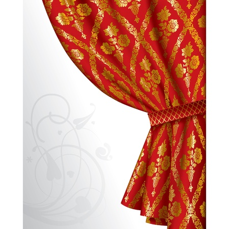 drape: Vector image of a red drape with gold vintage ornament