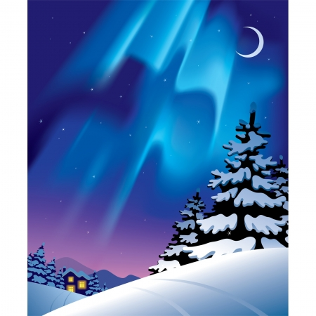 Vector winter landscape with the northern lights Stock Vector - 16415433
