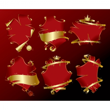 Vector set of six holiday red parchment-shaped banners with gold ribbons in sparkles