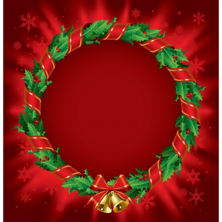Vector green holly wreath with red ribbon and gold bells on a red shining background Stock Vector - 16392539