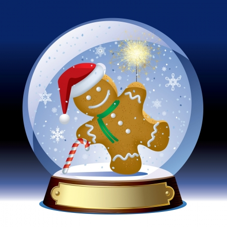 sparkler: Vector snow globe with a gingerbread man wih a sparkler within