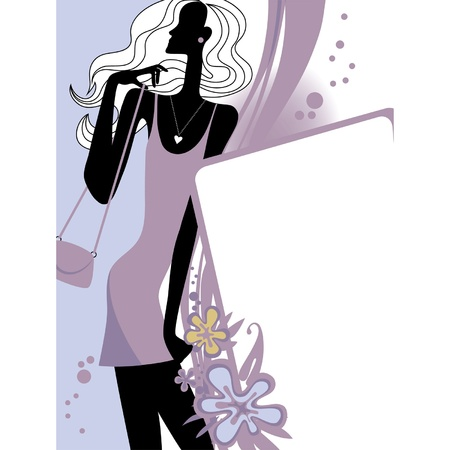 womanlike: Vector fashion page with black silhouette of the girl in violet dress