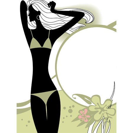 ladylike: Vector fashion page with black silhouette of the girl in light-olive green bikini