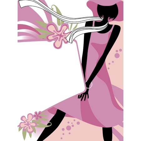 vogue style: Vector fashion page with black silhouette of the girl in light-pink dress and scarf