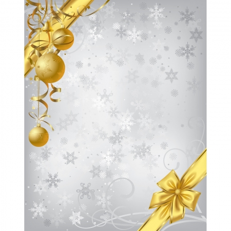 Vector silver christmas background with gold decoration