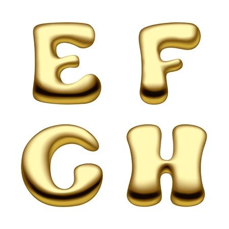 letras doradas: Vector de imagen de oro de las letras del alfabeto de capital