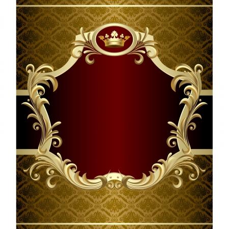 バロック様式の王冠とゴールドのバナーのベクトル画像  イラスト・ベクター素材