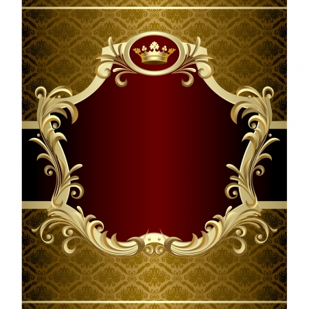 Vector image of gold banner with a crown in Baroque Style Çizim