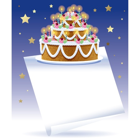 anniversary wishes: Vector birthday cake with white banner and gold stars on the blue background