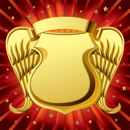 shield wings: Vector image of gold shield and banner with wings against a red luminous background Illustration
