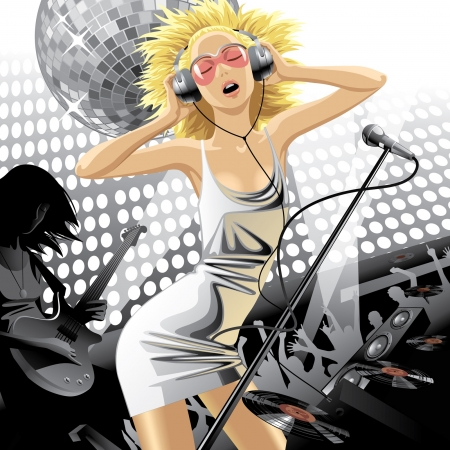 Vector image of dancing beautiful blonde girl in metallic dress with head-phones and microphone at a party Çizim