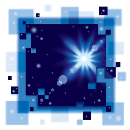 blurring: Vector abstract square background with the sun in the dark blue space