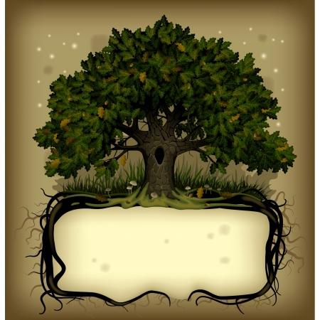 おとぎ話のルートの樫の木と昔ながらのバナーをベクトル