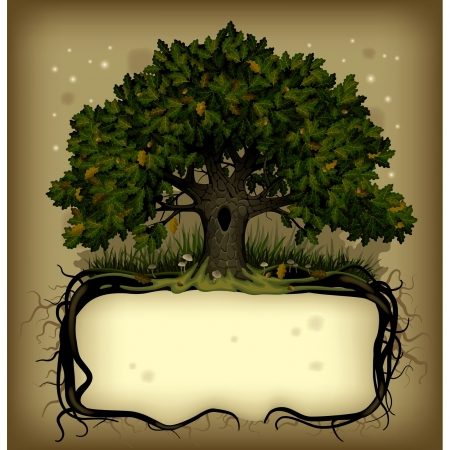 Vector old-fashioned banner with fairy-tale rooted oak tree Çizim