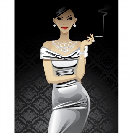 Vector beautiful fashion woman in metallic evening dress with diamond jewelry and a cigarette on black background Vector