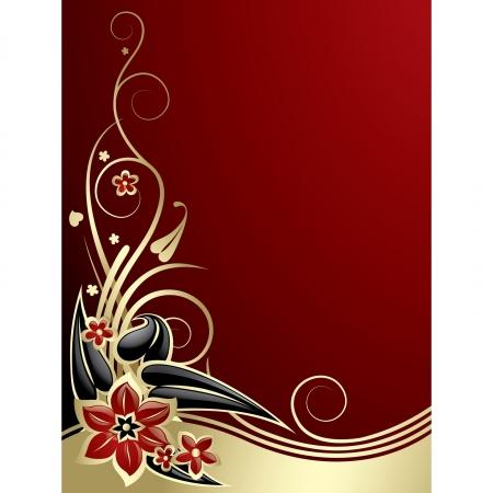 ornate swirls: Vector gold flowers on red background Illustration