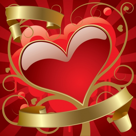 Vector image of the red heart with gold banners against the abstract background Vectores