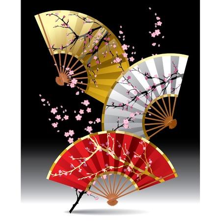 Vecteur d'image de trois ventilateurs japonais avec une branche de Sakura sur fond noir Vecteurs
