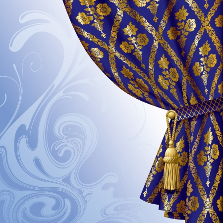drape: Vector image of a blue drape with gold vintage ornament against the abstract background Illustration
