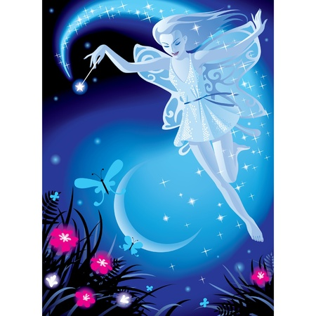 butterfly  angel: Vector image of luminous fairy girl on a blue night background with the moon and pink flowers