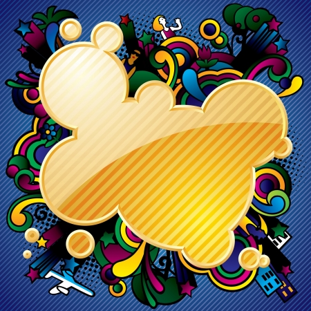 exhilarated: Vector yellow striped abstract banner and multicolored background with figurative images