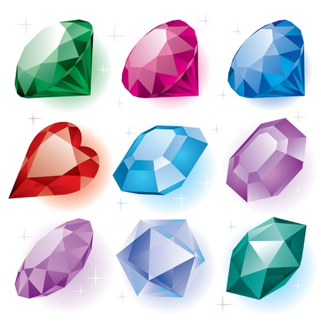 gems: Vector set of diamonds of various shapes on a white background Illustration