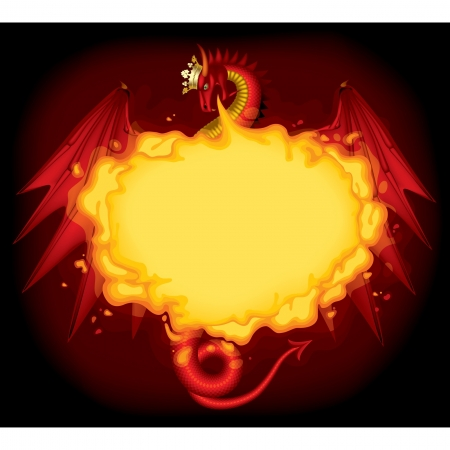gold age: Vector image of red dragon breathing fire with a gold crown on the black background Illustration