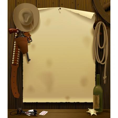 vaquero: Ilustraci�n vectorial con un cartel Relay Wild West en el entorno de accesorios de vaquero en el fondo de madera de la pared