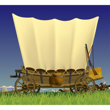 Vector illustration with a Wild West covered wagon in prairie against the background of a flock of horses Çizim