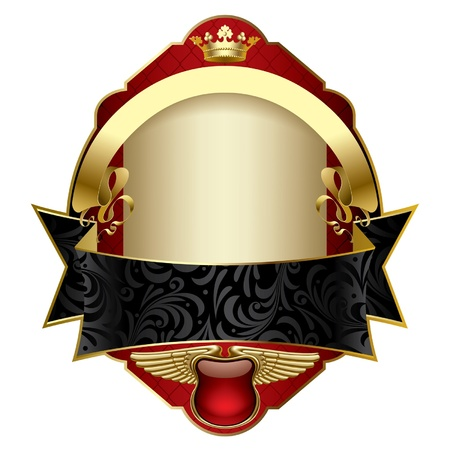 Vector image of a red vintage label with a gold crown, a gold emblem with wings, black and gold ribbons